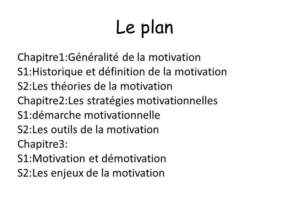 Le plan Chapitre1:Généralité de la motivation S1:Historique et définition de la motivation S2:Les théories de la motivation Chapitre2:Les stratégies m