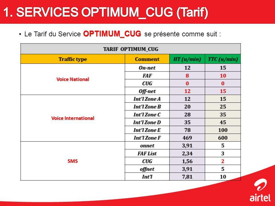 OPTIMUM_CUGLe Tarif du Service OPTIMUM_CUG se présente comme suit : TARIF OPTIMUM_CUGTARIF OPTIMUM_CUG Traffic typeTraffic typeCommentHT (u/min)HT (u/