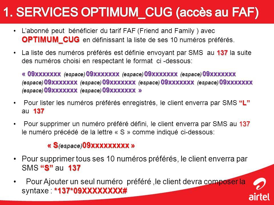 OPTIMUM_CUGLabonné peut bénéficier du tarif FAF (Friend and Family ) avec OPTIMUM_CUG en définissant la liste de ses 10 numéros préférés. 137La liste