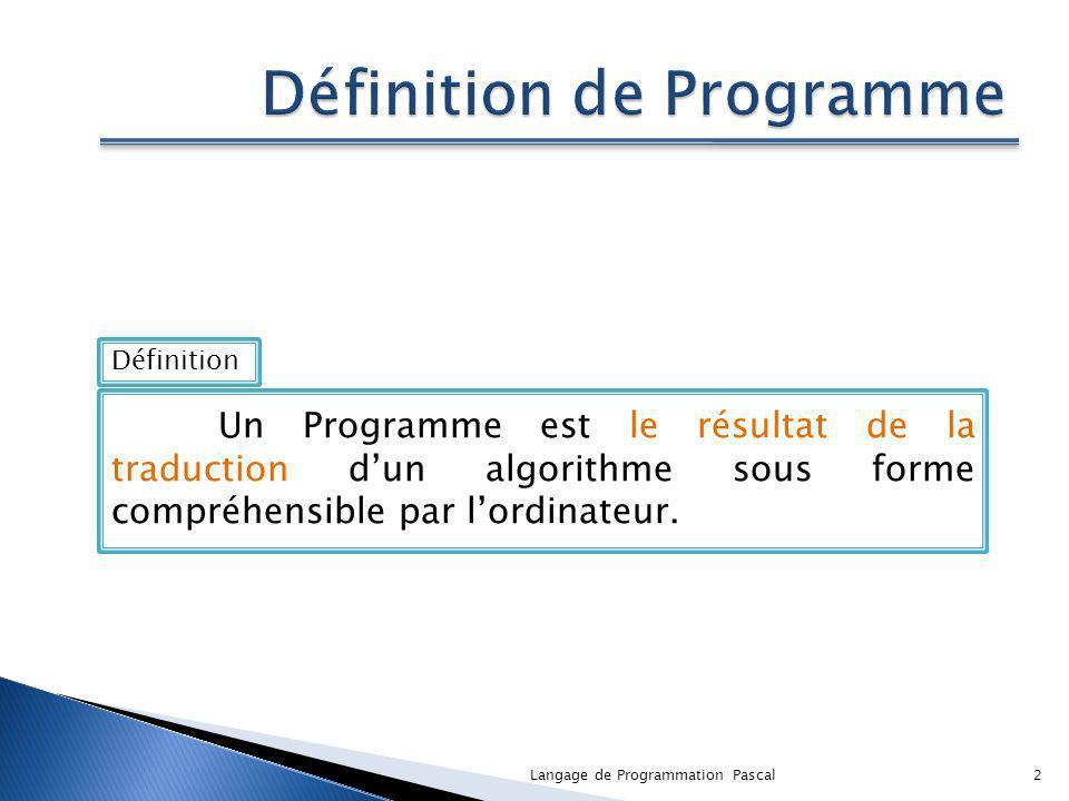 Un Programme est le résultat de la traduction dun algorithme sous forme compréhensible par lordinateur. Définition 2Langage de Programmation Pascal