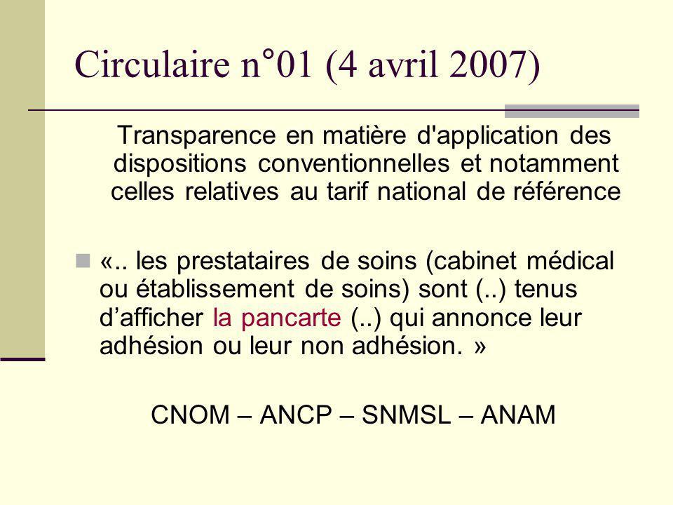 Circulaire n°01 (4 avril 2007) Transparence en matière d'application des dispositions conventionnelles et notamment celles relatives au tarif national