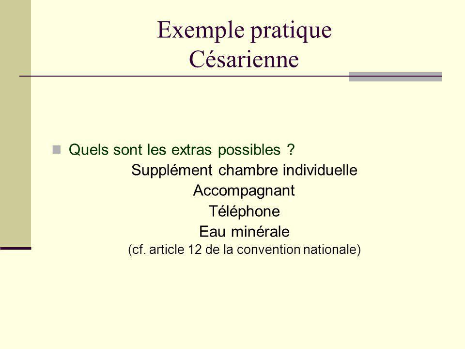 Exemple pratique Césarienne Quels sont les extras possibles ? Supplément chambre individuelle Accompagnant Téléphone Eau minérale (cf. article 12 de l