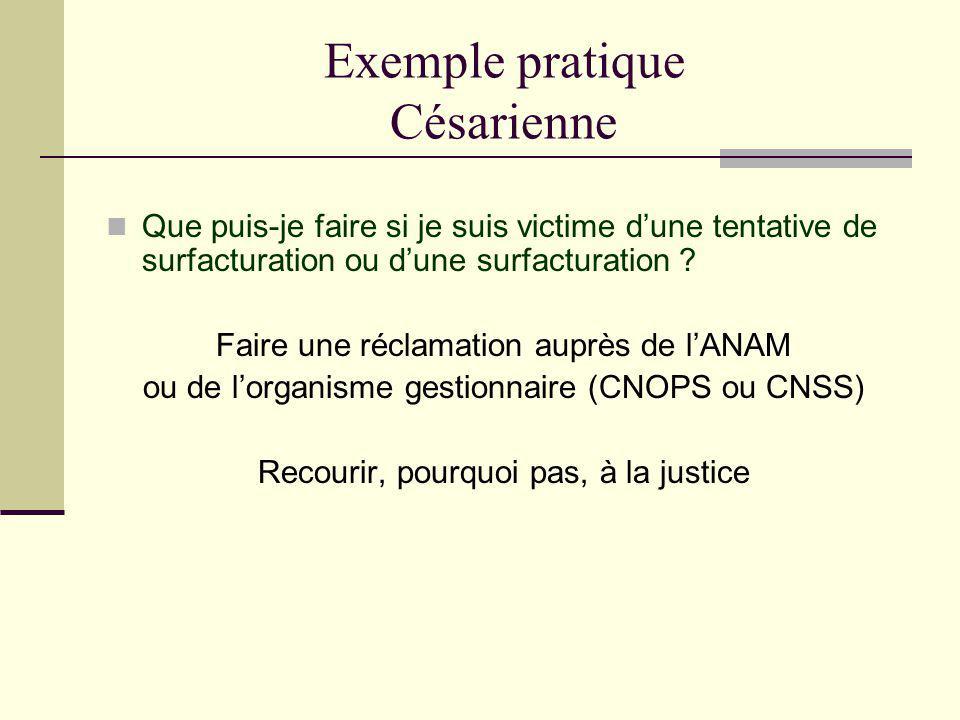 Exemple pratique Césarienne Que puis-je faire si je suis victime dune tentative de surfacturation ou dune surfacturation ? Faire une réclamation auprè