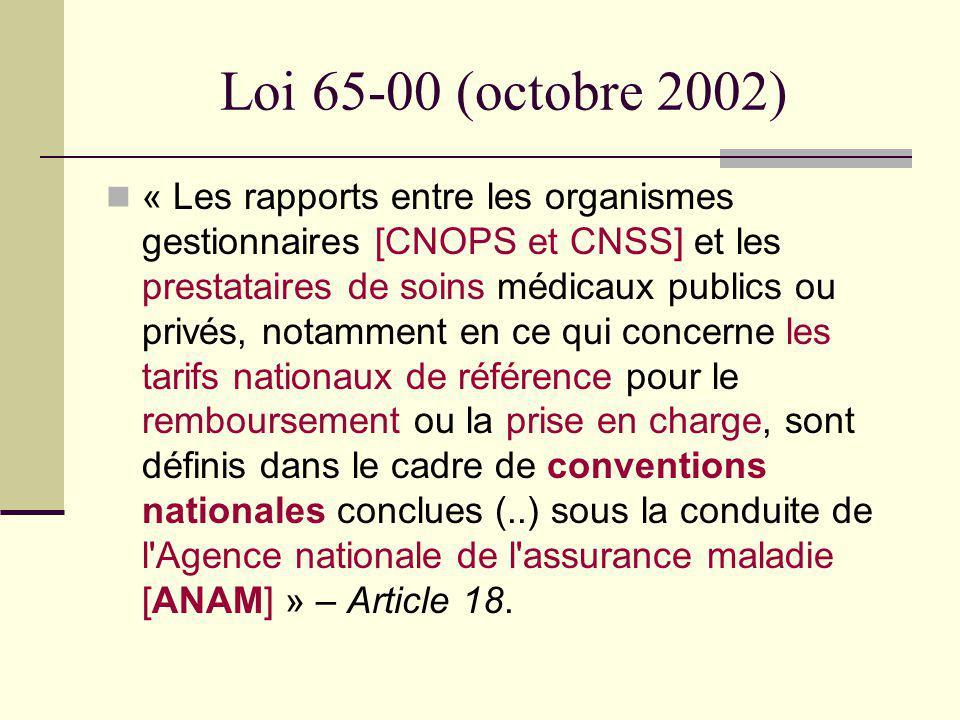 Loi 65-00 (octobre 2002) « Les rapports entre les organismes gestionnaires [CNOPS et CNSS] et les prestataires de soins médicaux publics ou privés, no
