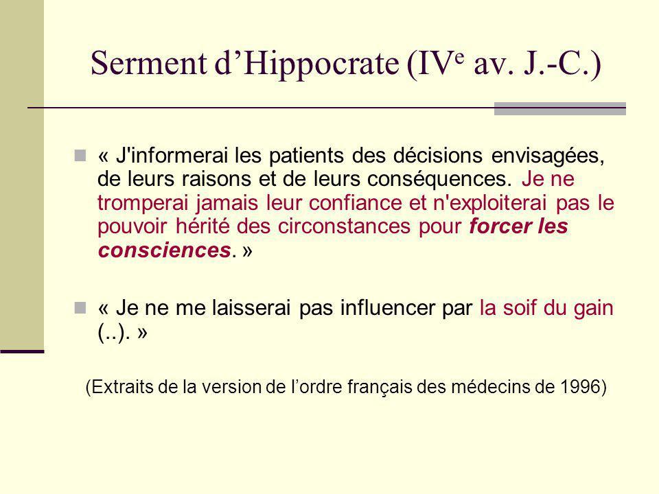 Serment dHippocrate (IV e av. J.-C.) « J'informerai les patients des décisions envisagées, de leurs raisons et de leurs conséquences. Je ne tromperai