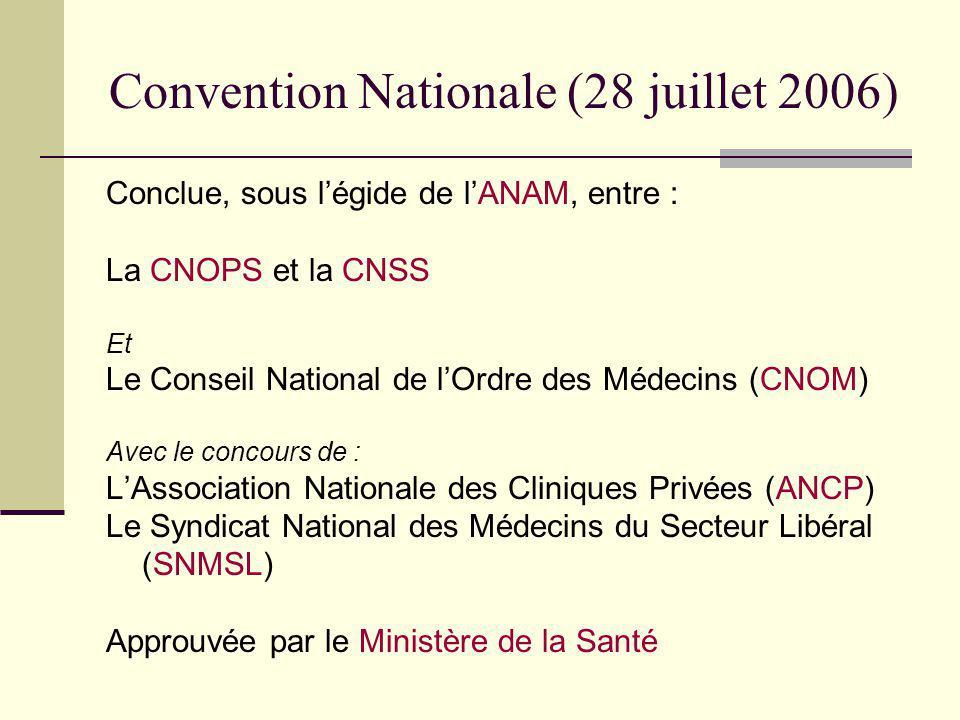 Convention Nationale (28 juillet 2006) Conclue, sous légide de lANAM, entre : La CNOPS et la CNSS Et Le Conseil National de lOrdre des Médecins (CNOM)