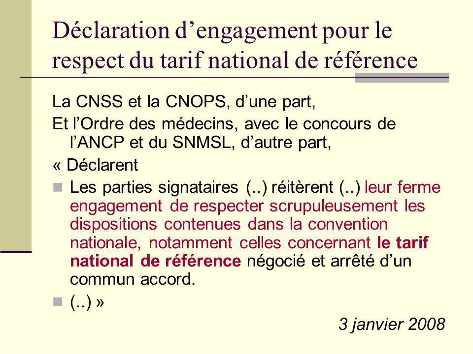 Déclaration dengagement pour le respect du tarif national de référence La CNSS et la CNOPS, dune part, Et lOrdre des médecins, avec le concours de lAN