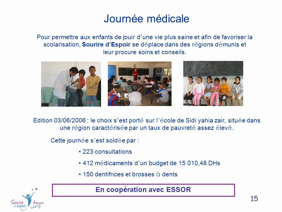 15 Journée médicale Pour permettre aux enfants de jouir d une vie plus saine et afin de favoriser la scolarisation, Sourire d Espoir se d é place dans