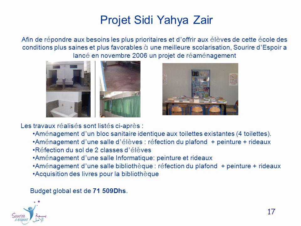 17 Projet Sidi Yahya Zair Afin de r é pondre aux besoins les plus prioritaires et d offrir aux é l è ves de cette é cole des conditions plus saines et