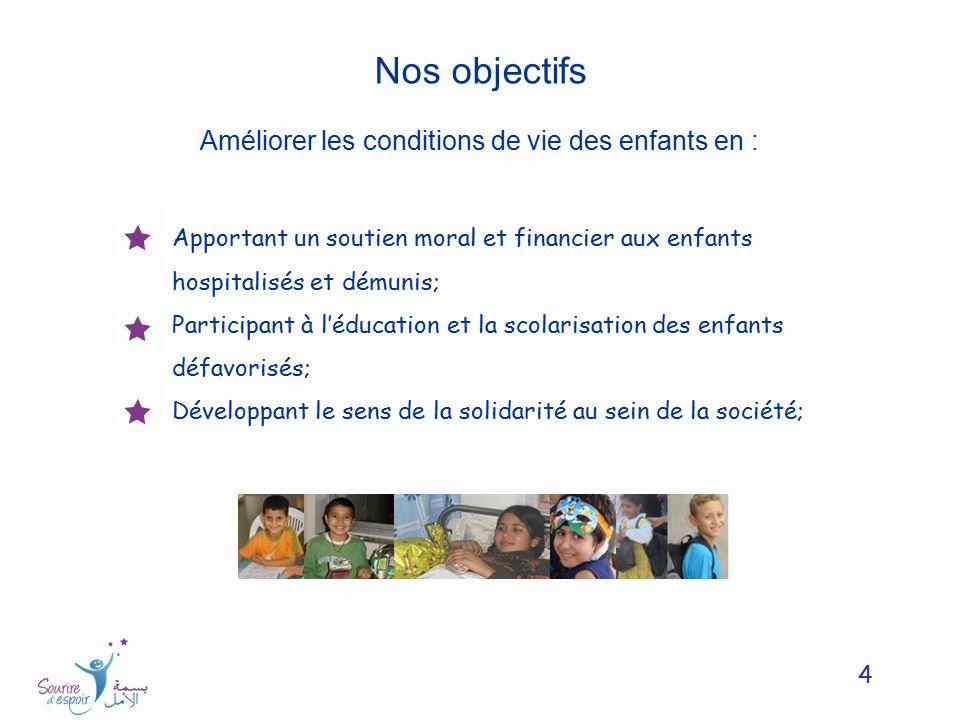 4 Nos objectifs Améliorer les conditions de vie des enfants en : Apportant un soutien moral et financier aux enfants hospitalisés et démunis; Particip