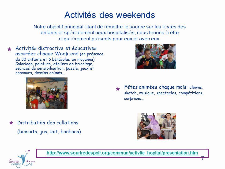 7 Activités des weekends Notre objectif principal é tant de remettre le sourire sur les l è vres des enfants et sp é cialement ceux hospitalis é s, no