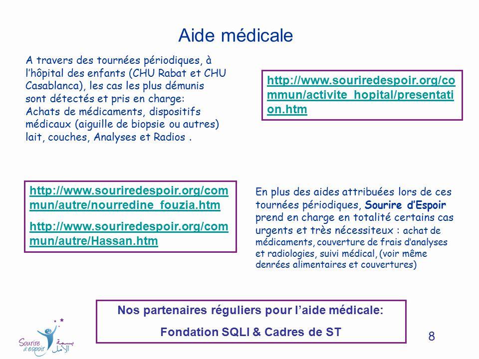 8 Aide médicale A travers des tournées périodiques, à lhôpital des enfants (CHU Rabat et CHU Casablanca), les cas les plus démunis sont détectés et pr
