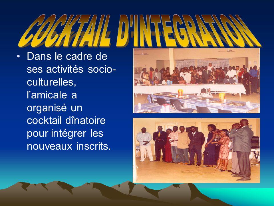 Dans le cadre de ses activités socio- culturelles, lamicale a organisé un cocktail dînatoire pour intégrer les nouveaux inscrits.