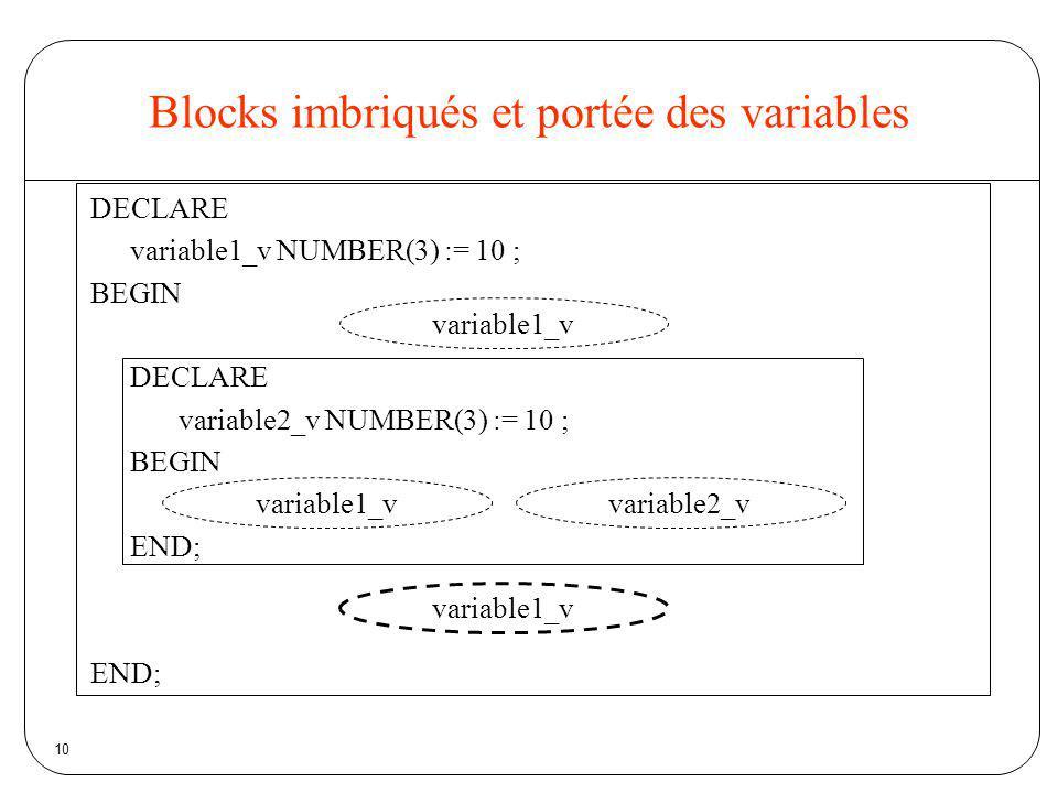 10 Blocks imbriqués et portée des variables DECLARE variable1_v NUMBER(3) := 10 ; BEGIN DECLARE variable2_v NUMBER(3) := 10 ; BEGIN END; variable1_v v