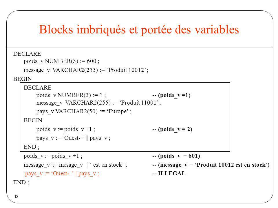 12 Blocks imbriqués et portée des variables DECLARE poids_v NUMBER(3) := 600 ; message_v VARCHAR2(255) := Produit 10012 ; BEGIN DECLARE poids_v NUMBER