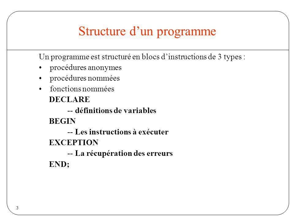14 Structures de contrôle Branchements conditionnels –IF - THEN - END IF –IF - THEN - ELSE - END IF –IF - THEN - ELSIF - END IF Boucles –LOOP - END LOOP –FOR - END LOOP –WHILE - END LOOP –Note : la commande EXIT permet de sortir de tout type de boucle –Exit when : permet de sortir de la boucle selon une condition
