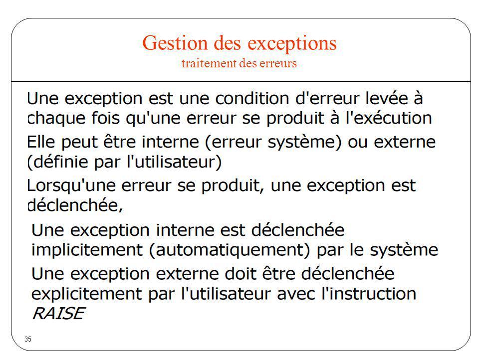 35 Gestion des exceptions traitement des erreurs