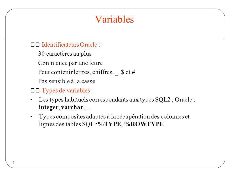 5 Variables Déclaration dune variable identificateur [CONSTANT] type [:= valeur]; Exemples : age integer:=20; nom varchar(30); dateNaissance date; ok boolean := true; PI CONSTANT REAL:=500; Déclarations multiples interdites : On peut déclarer quune variable est du même type quune colonne dune table (ou quune autre variable) : NC client.nom.%TYPE; Age number; Age1 age%type;