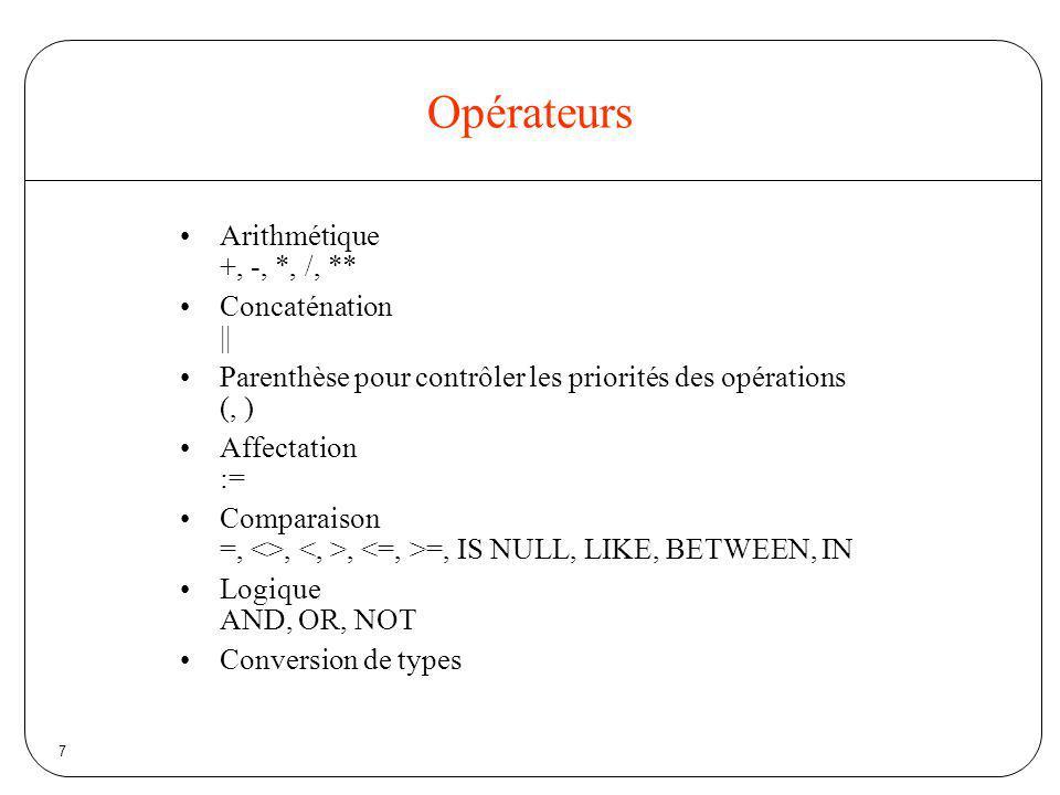 7 Opérateurs Arithmétique +, -, *, /, ** Concaténation || Parenthèse pour contrôler les priorités des opérations (, ) Affectation := Comparaison =, <>