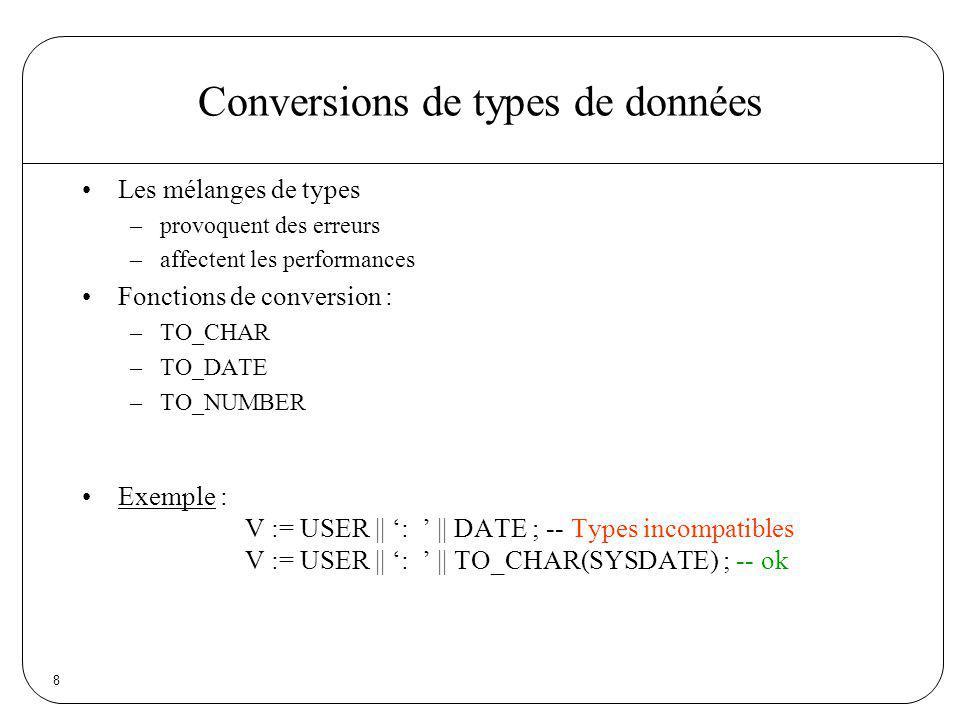 8 Conversions de types de données Les mélanges de types –provoquent des erreurs –affectent les performances Fonctions de conversion : –TO_CHAR –TO_DAT