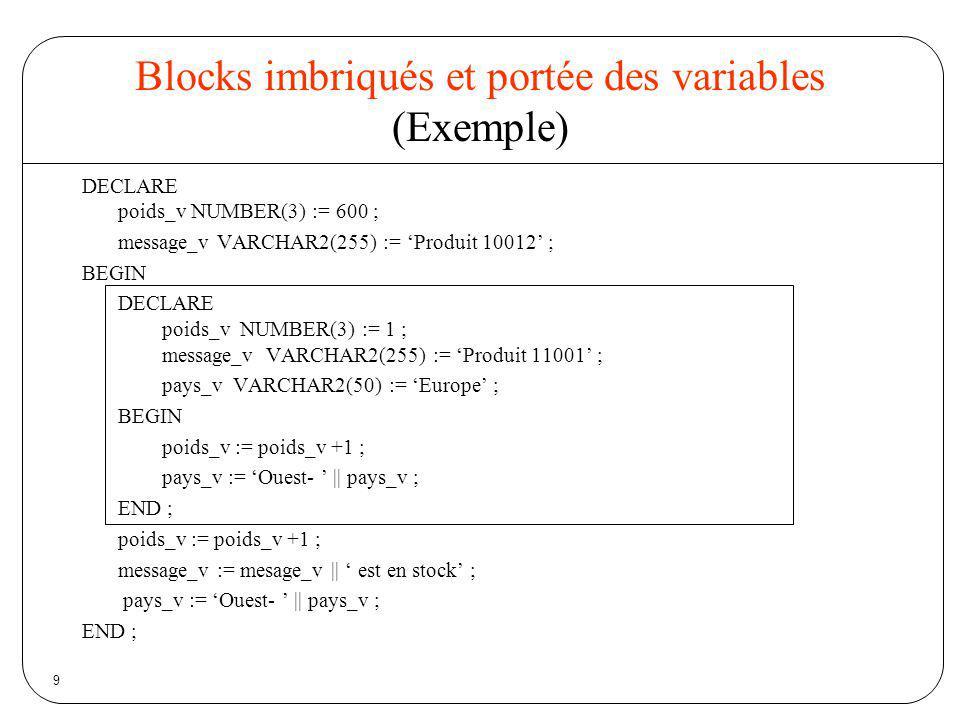 9 Blocks imbriqués et portée des variables (Exemple) DECLARE poids_v NUMBER(3) := 600 ; message_v VARCHAR2(255) := Produit 10012 ; BEGIN DECLARE poids