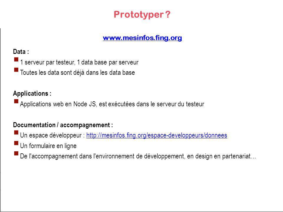 Data : 1 serveur par testeur, 1 data base par serveur Toutes les data sont déjà dans les data base Applications : Applications web en Node JS, est exécutées dans le serveur du testeur Documentation / accompagnement : Un espace développeur : http://mesinfos.fing.org/espace-developpeurs/donneeshttp://mesinfos.fing.org/espace-developpeurs/donnees Un formulaire en ligne De l accompagnement dans l environnement de développement, en design en partenariat… Prototyper .