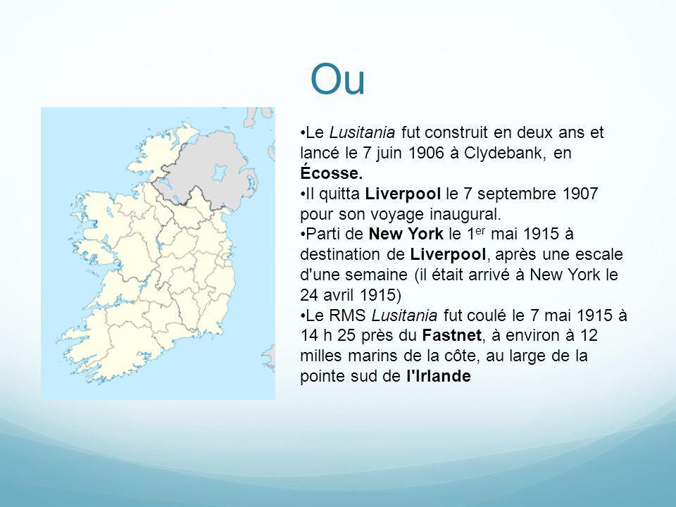 Quoi Le Lusitania fut touché par tribord alors qu il naviguait à vitesse relativement réduite vers le port de Queenstown (actuel Cobh), à 40 km de là sur la côte sud de l Irlande.