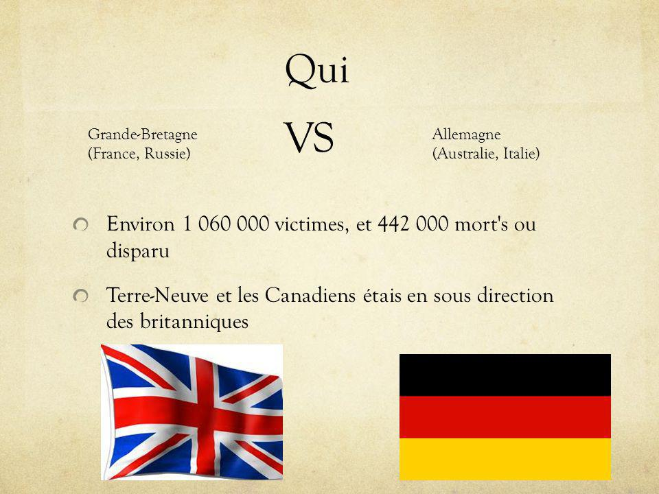 Qui Environ 1 060 000 victimes, et 442 000 mort s ou disparu Terre-Neuve et les Canadiens étais en sous direction des britanniques Grande-Bretagne (France, Russie) VS Allemagne (Australie, Italie)