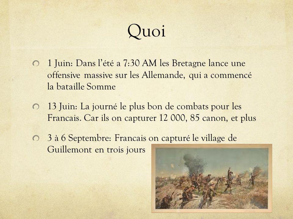 Quoi 1 Juin: Dans lété a 7:30 AM les Bretagne lance une offensive massive sur les Allemande, qui a commencé la bataille Somme 13 Juin: La journé le plus bon de combats pour les Francais.