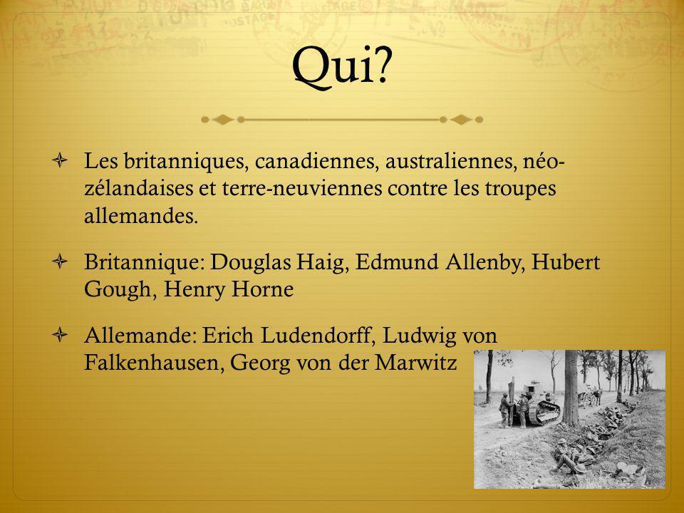 Qui? Les britanniques, canadiennes, australiennes, néo- zélandaises et terre-neuviennes contre les troupes allemandes. Britannique: Douglas Haig, Edmu