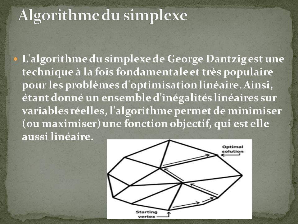 L'algorithme du simplexe de George Dantzig est une technique à la fois fondamentale et très populaire pour les problèmes d'optimisation linéaire. Ains