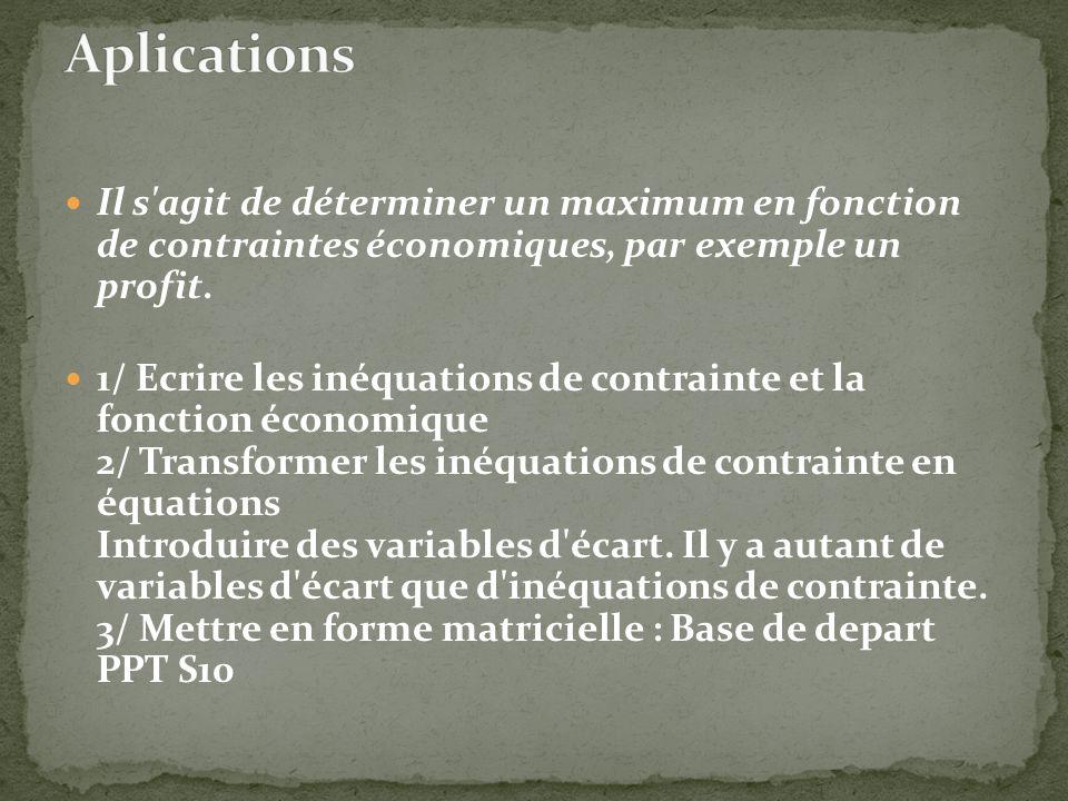 Il s'agit de déterminer un maximum en fonction de contraintes économiques, par exemple un profit. 1/ Ecrire les inéquations de contrainte et la foncti
