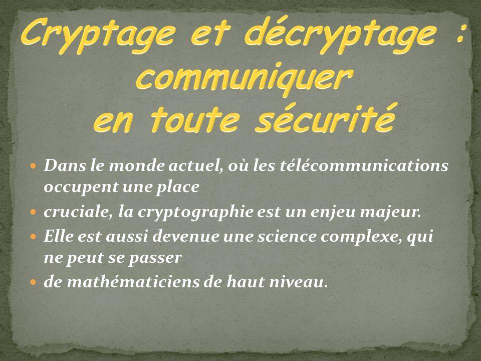Dans le monde actuel, où les télécommunications occupent une place cruciale, la cryptographie est un enjeu majeur. Elle est aussi devenue une science