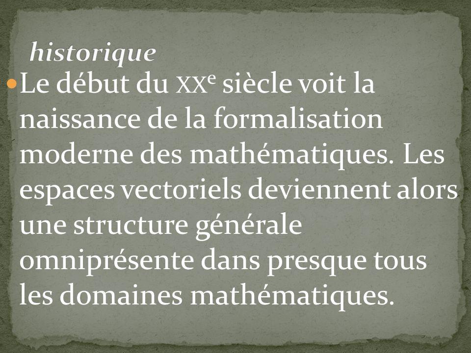 Le début du XX e siècle voit la naissance de la formalisation moderne des mathématiques. Les espaces vectoriels deviennent alors une structure général