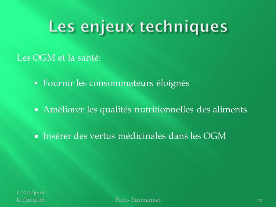 Fournir les consommateurs éloignés Améliorer les qualités nutritionnelles des aliments Insérer des vertus médicinales dans les OGM Paul- Emmanuel Les