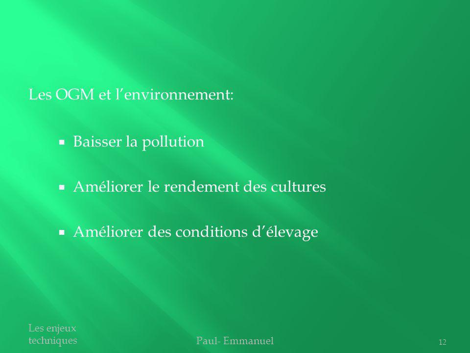 Baisser la pollution Améliorer le rendement des cultures Améliorer des conditions délevage Paul- Emmanuel Les enjeux techniques Les OGM et lenvironnem