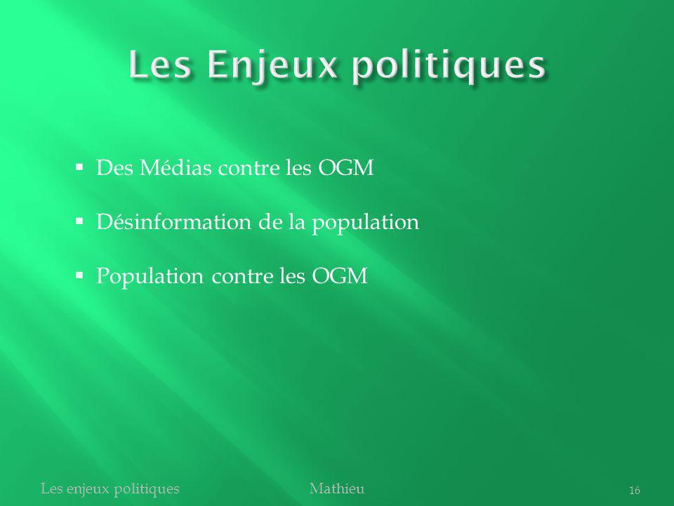 MathieuLes enjeux politiques 16 Des Médias contre les OGM Désinformation de la population Population contre les OGM