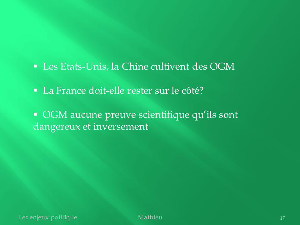 MathieuLes enjeux politique 17 Les Etats-Unis, la Chine cultivent des OGM La France doit-elle rester sur le côté? OGM aucune preuve scientifique quils