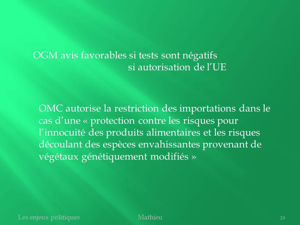 OMC autorise la restriction des importations dans le cas dune « protection contre les risques pour linnocuité des produits alimentaires et les risques