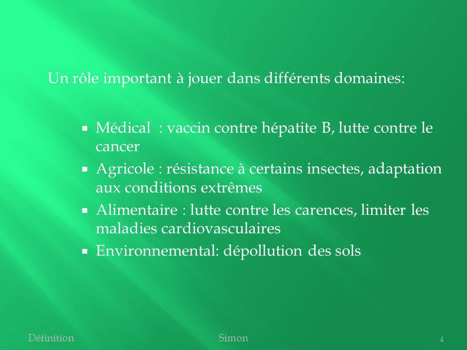 Médical : vaccin contre hépatite B, lutte contre le cancer Agricole : résistance à certains insectes, adaptation aux conditions extrêmes Alimentaire :
