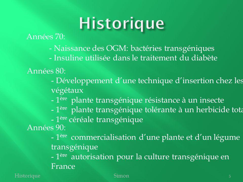 Années 70: - Naissance des OGM: bactéries transgéniques - Insuline utilisée dans le traitement du diabète HistoriqueSimon 5 Années 80: - Développement