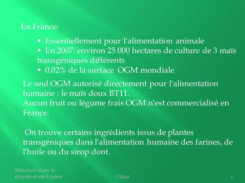 8 En France: Essentiellement pour l'alimentation animale En 2007: environ 25 000 hectares de culture de 3 maïs transgéniques différents 0,02% de la su