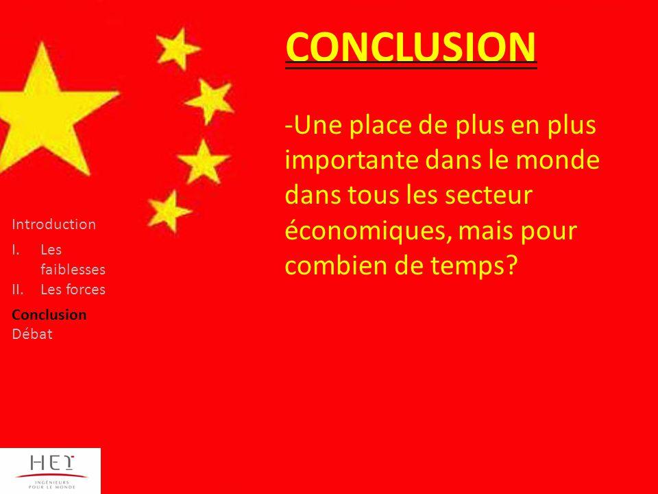 CONCLUSION -Une place de plus en plus importante dans le monde dans tous les secteur économiques, mais pour combien de temps.