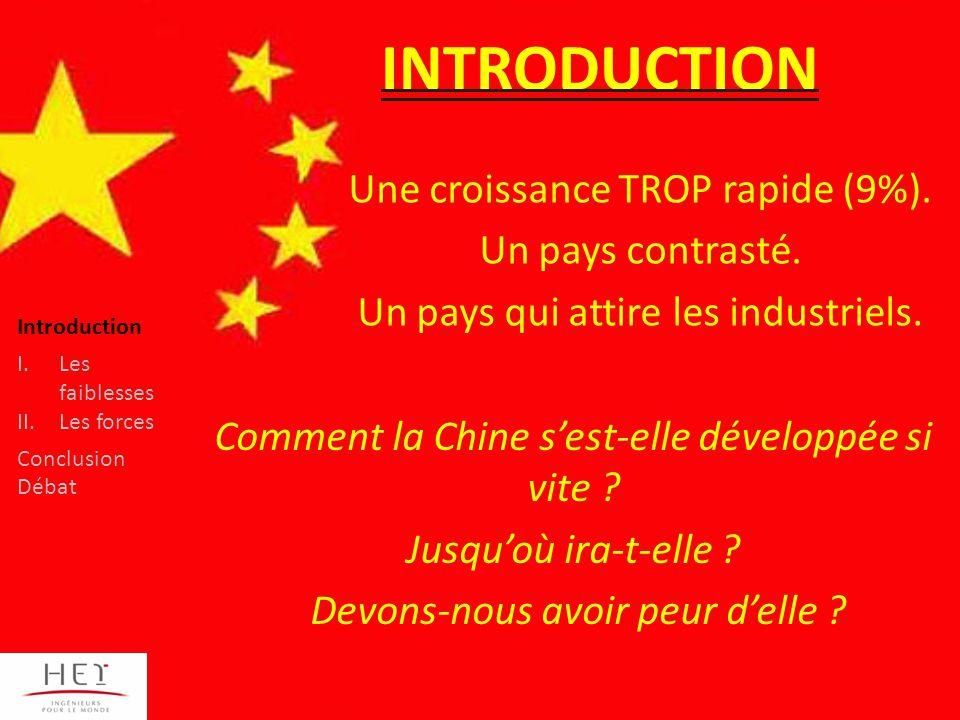Introduction I.Les faiblesses II.Les forces Conclusion Débat INTRODUCTION Une croissance TROP rapide (9%).