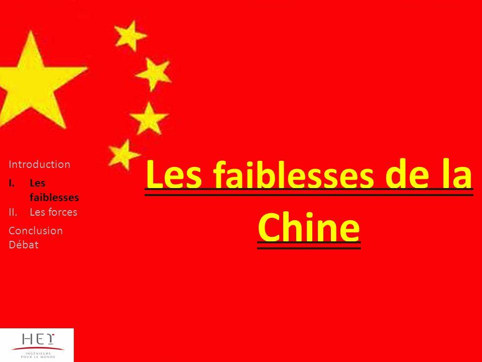 Les faiblesses de la Chine Introduction I.Les faiblesses II.Les forces Conclusion Débat