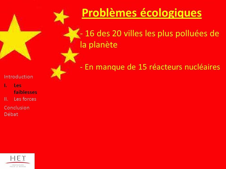 - 16 des 20 villes les plus polluées de la planète - En manque de 15 réacteurs nucléaires Problèmes écologiques Introduction I.Les faiblesses II.Les forces Conclusion Débat