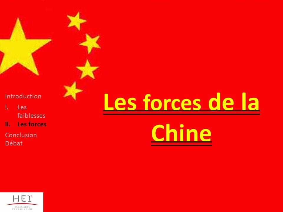 Les forces de la Chine Introduction I.Les faiblesses II.Les forces Conclusion Débat