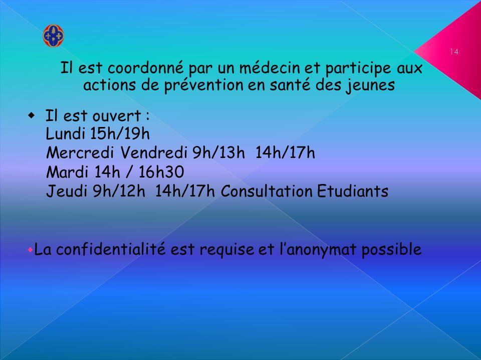 Il est coordonné par un médecin et participe aux actions de prévention en santé des jeunes Il est ouvert : Lundi 15h/19h Mercredi Vendredi 9h/13h 14h/