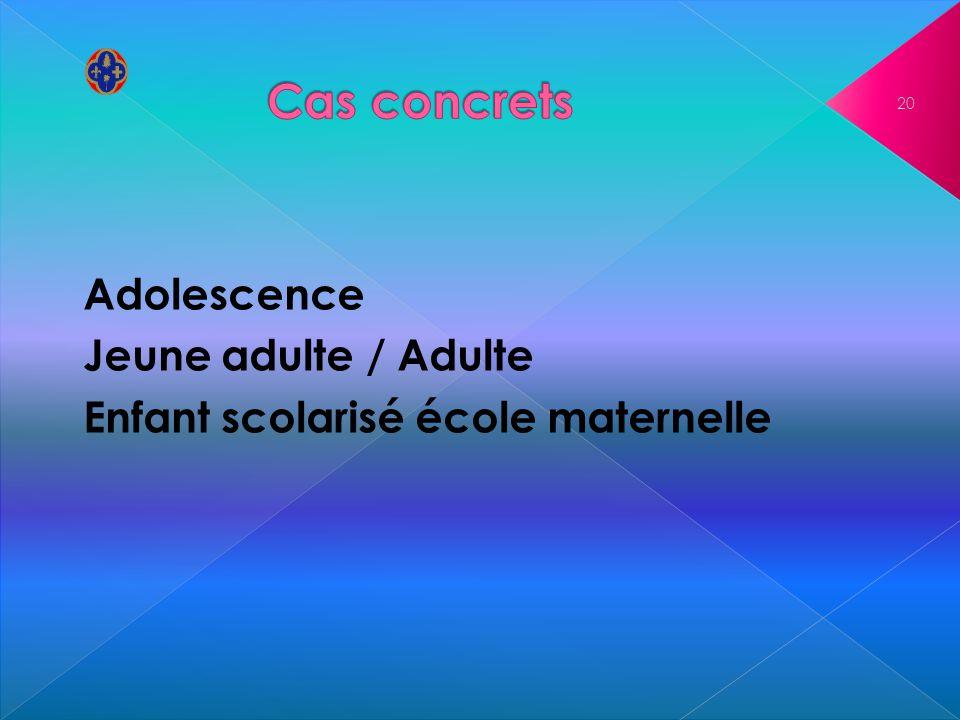 Adolescence Jeune adulte / Adulte Enfant scolarisé école maternelle 20