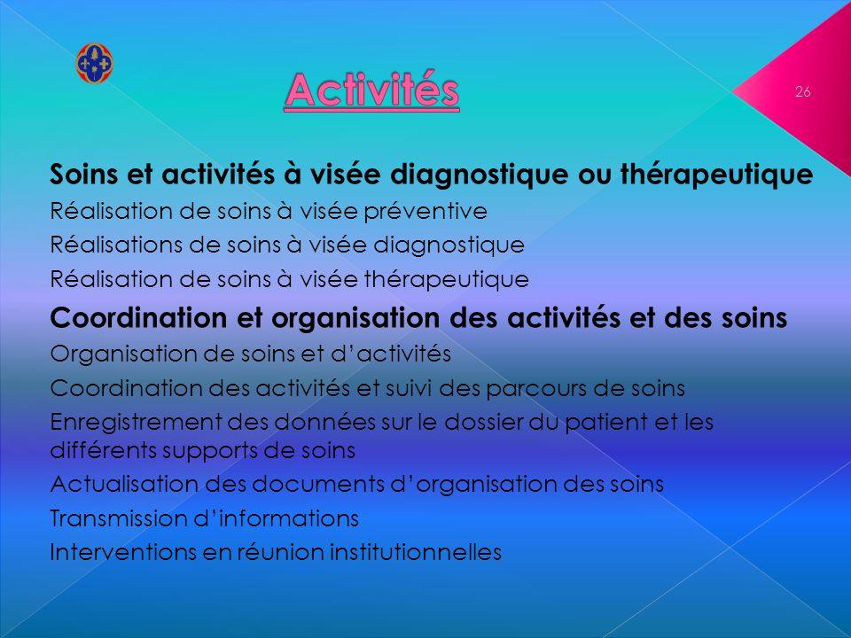 Soins et activités à visée diagnostique ou thérapeutique Réalisation de soins à visée préventive Réalisations de soins à visée diagnostique Réalisatio